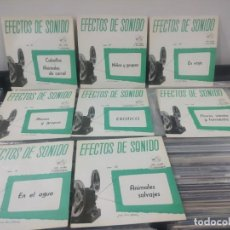 Discos de vinilo: LOTE 8 EP EFECTOS SONIDO CABALLOS NIÑOS VIAJE EXOTICO LLUVIA TORMENTA AGUA ANIMALES SALVAJES. Lote 184795367