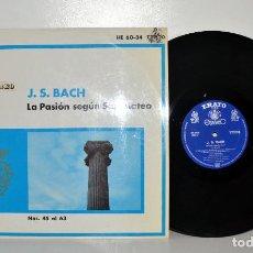 Discos de vinilo: BACH PASIÓN SEGÚN S. MATEO (45-63) FRITZ WERNER ERATO HISPAVOX ESPAÑA VG++/VG++. Lote 184832717
