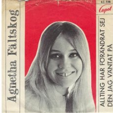 Discos de vinilo: AGNETHA ABBA SINGLE DE VINILO AÑO 1968 ALLTING HAR FÖRANDRÄT SEJ. Lote 184869780