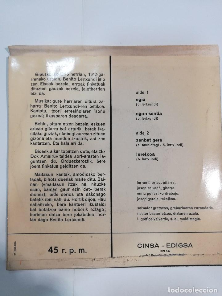 Discos de vinilo: BENITO LERTXUNDI ( 1967): EGIA / EGUN SENTIA / ZENBAT GERA / LORETXOA - Foto 2 - 185221805