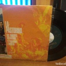 Discos de vinilo: LA PASTORINA - LOS TAMBORES ASTURIANOS + YE PEQUEÑINA Y MORENA SINGLE COLUMBIA1972 ASTURIAS. Lote 185685303