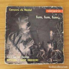 Discos de vinilo: CORS DE LES ESCOLES BETANIA I SANT GREGORI -EP VINILO 7''- CANÇONS DE NADAL FUM FUM FUM. Lote 185690240