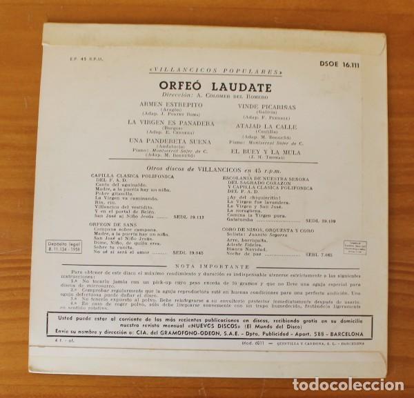 Discos de vinilo: ORFEO LAUDATE -EP VINILO 7- VILLANCICOS POPULARES NAVIDAD - Foto 2 - 185690331