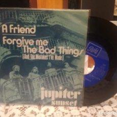 Discos de vinilo: JUPITER SUNSET A FRIEND SNGLE SPAIN 1971 PDELUXE. Lote 185694785
