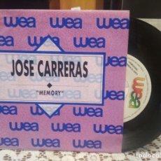 Discos de vinilo: JOSE CARRERAS MEMORY SINGLE SPAIN 1989 PDELUXE. Lote 185695045
