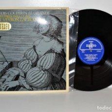 Discos de vinilo: FRANÇOIS CUPERIN - PIEZAS PARA CLAVE, R. VEYRON - HISPAVOX ESPAÑA 1968 VG++/VG++. Lote 185697725
