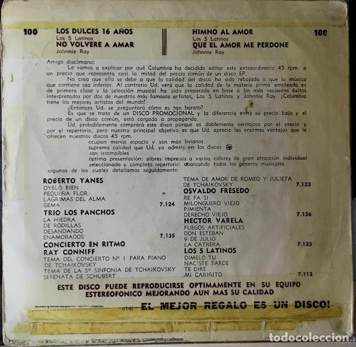 Discos de vinilo: Split EP argentino de Los Cinco Latinos y Johnnie Ray año 1959 - Foto 2 - 27076961