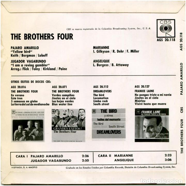 Discos de vinilo: The Brothers Four – Grandes Exitos - Ep Spain 1963 - CBS AGS 20.118 - Foto 2 - 185754061