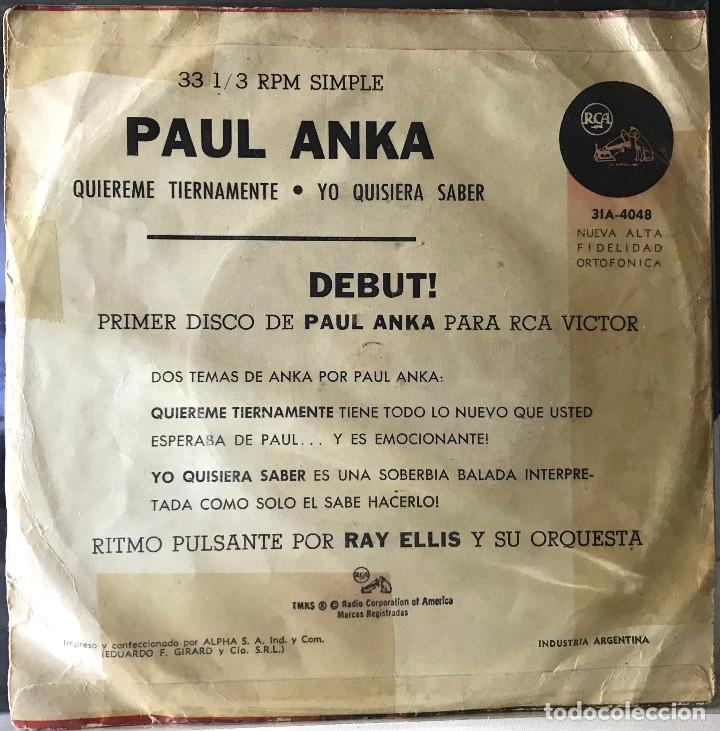 Discos de vinilo: Sencillo argentino de Paul Anka año 1962 - Foto 2 - 35834447