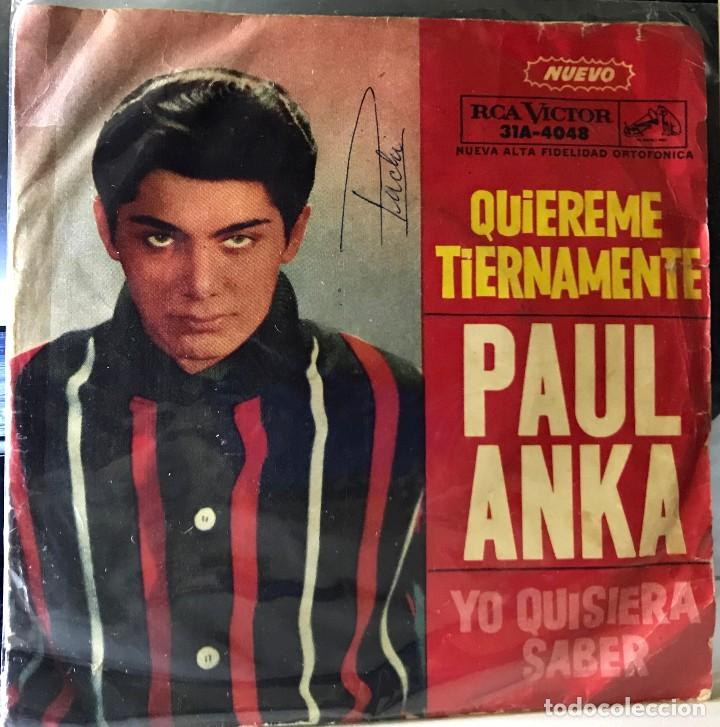 SENCILLO ARGENTINO DE PAUL ANKA AÑO 1962 (Música - Discos - Singles Vinilo - Cantautores Internacionales)