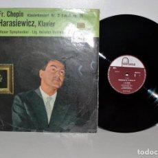 Discos de vinilo: CHOPIN, CONCIERTO PIANO N.º 2, ADAM HARASIEWICZ FONTANA 698022CL HOLANDA EX/VG+. Lote 185787248