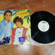 Discos de vinilo: ANTONIO Y CARMEN SOPA DE AMOR LP VINILO DEL AÑO 1982 ESPAÑA GATEFOLD ROCIO DURCAL CONTIENE 10 TEMAS. Lote 184884853