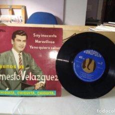 Discos de vinilo: ERNESTO VELÁZQUEZ - 4 EXITOS DE ERNESTO VELÁZQUEZ. Lote 185906208