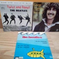 Discos de vinilo: LOTE EPS BEATLES: TWIST AND SHOUT, YELLOW SUBMARINE, GEORGE HARRISON + OTRO DE REGALO. Lote 185981080