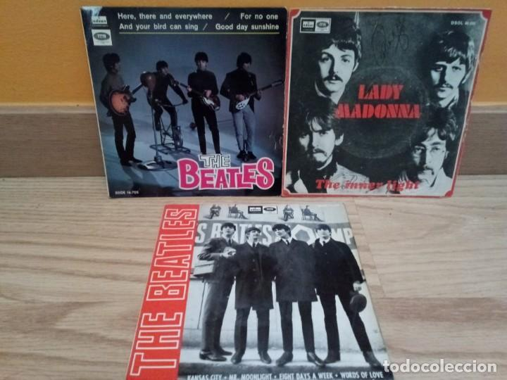 LOTE 3 EPS BEATLES: HERE, THERE AND EVERYWHERE, KANSAS CITY, LADY MADONNA + OTRO DE REGALO (Música - Discos de Vinilo - EPs - Pop - Rock Extranjero de los 70)