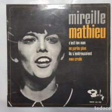 Discos de vinilo: EP / MIREILLE MATHIEU / C'EST TON NOM - ME PARLEZ PLUS - ILS S'EMBRASSAIENT - MON CREDO / 1966. Lote 186027170