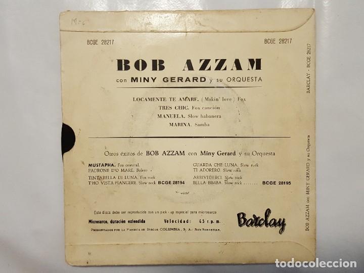 Discos de vinilo: EP / BOB AZZAM CON MINY GERARD Y SU ORQUESTA / LOCAMENTE TE AMARE-TRES CHIC-MANUELA-MARINA / 1960 - Foto 2 - 186027902