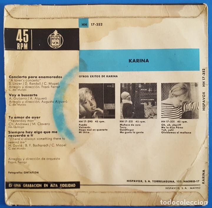 Discos de vinilo: EP / KARINA / CONCIERTO PARA ENAMORADOS +3 / 1966 - Foto 2 - 186090712