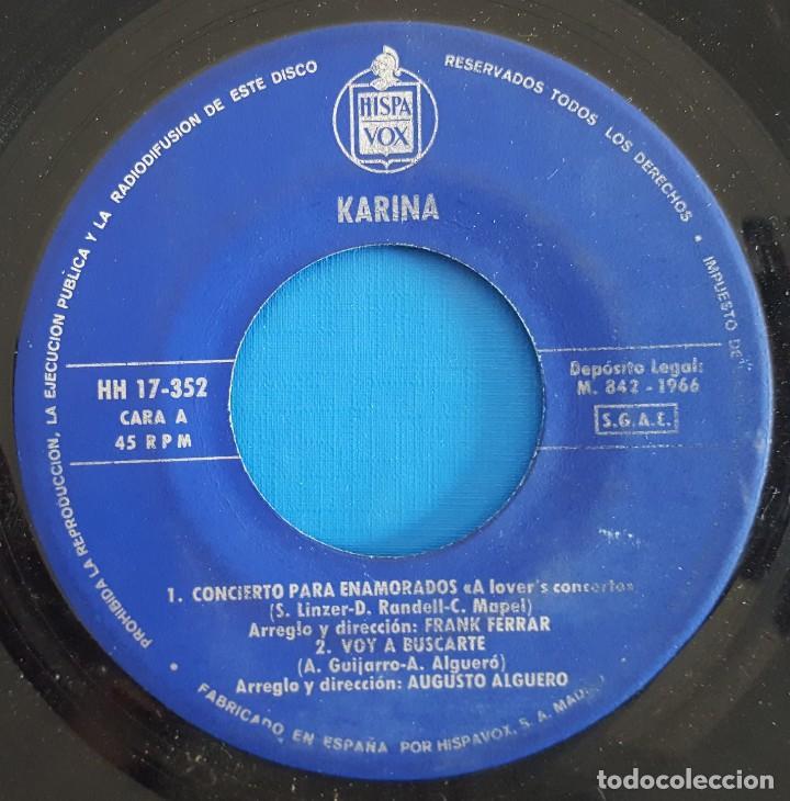 Discos de vinilo: EP / KARINA / CONCIERTO PARA ENAMORADOS +3 / 1966 - Foto 3 - 186090712