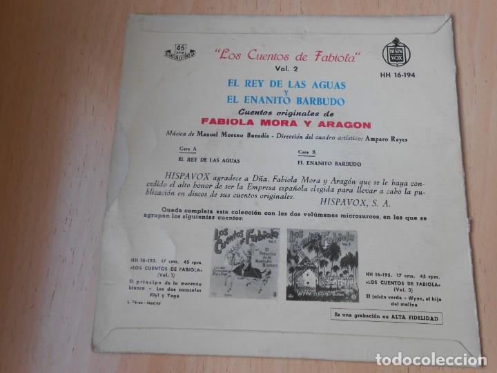 Discos de vinilo: CUENTOS DE FABIOLA - FABIOLA MORA Y ARAGON -, EP, EL REY DE LAS AGUAS + 1, AÑO 1960 - Foto 2 - 186152828