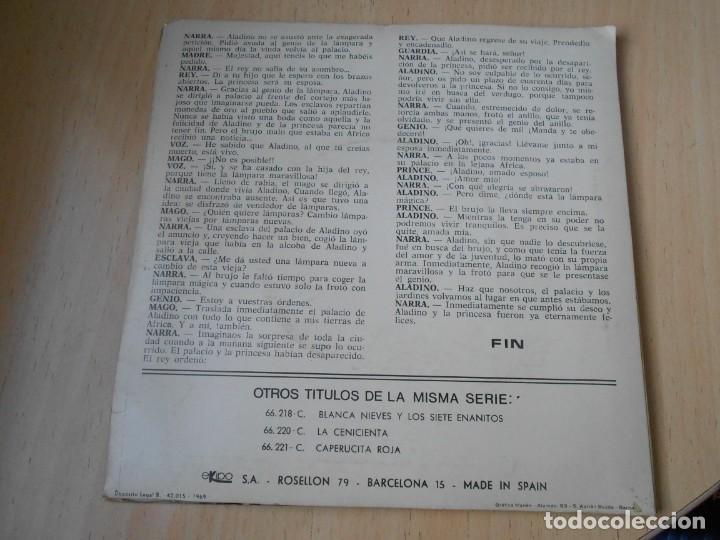 Discos de vinilo: CUENTO - Narrador: José Mª SANTOS -, EP, ALADINO Y LA LÁMPARA MARAVILLOSA + 1, AÑO 1969 - Foto 3 - 186153808