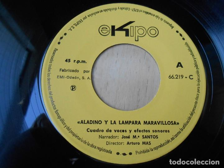 Discos de vinilo: CUENTO - Narrador: José Mª SANTOS -, EP, ALADINO Y LA LÁMPARA MARAVILLOSA + 1, AÑO 1969 - Foto 4 - 186153808