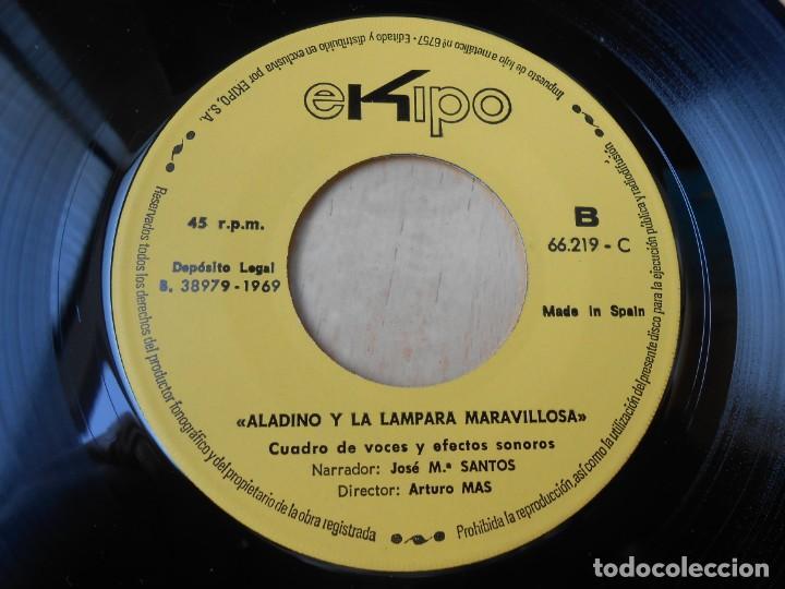 Discos de vinilo: CUENTO - Narrador: José Mª SANTOS -, EP, ALADINO Y LA LÁMPARA MARAVILLOSA + 1, AÑO 1969 - Foto 5 - 186153808