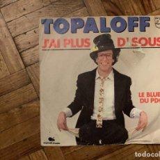 Discos de vinilo: TOPALOFF* – J'AI PLUS D'SOUS SELLO: PHILIPS – 6010 621, BIGOUDI MUSIC – 6010 621 FORMATO: VINYL,. Lote 186162562