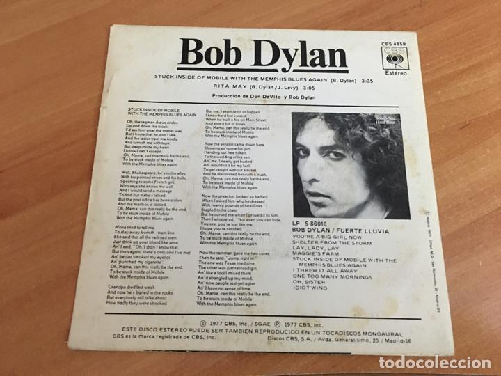 Discos de vinilo: BOB DYLAN (STUCK INSIDE OF MOBILE WITH THE MEMPHIS BLUES AGAIN) SINGLE SPAIN 1977 (EPI03) - Foto 3 - 186175747