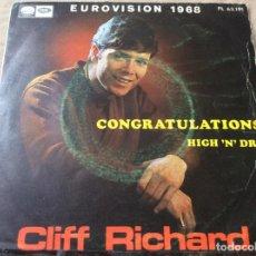Discos de vinilo: CLIFF RICHARD. EUROVISIÓN 1968. CONGRATULATIONS - HIGH N'DRY. EMI 1968.. Lote 186209493