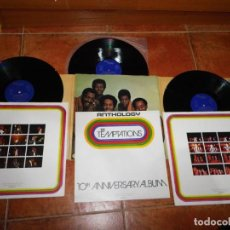 Discos de vinilo: THE TEMPTATIONS ANTHOLOGY TRIPLE LP VINILO GATEFOLD 1973 ESPAÑA FOLLETO ENCARTES 3 LP MOTOWN BOX. Lote 186212590