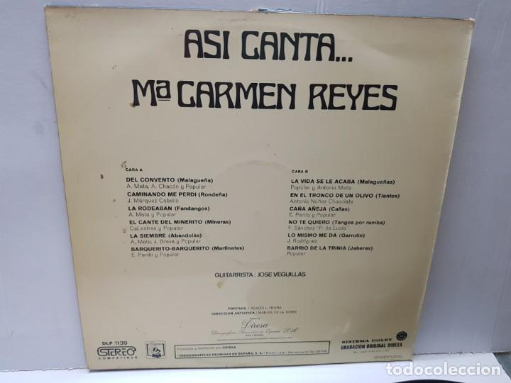 Discos de vinilo: LP-MARI CARMEN REYES-ASI CANTA en funda original 1973 - Foto 2 - 186227167