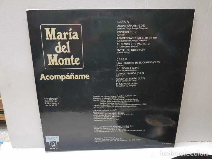 Discos de vinilo: LP-MARIA DEL MONTE-ACOMPAÑAME en funda original 1989 - Foto 2 - 186227343