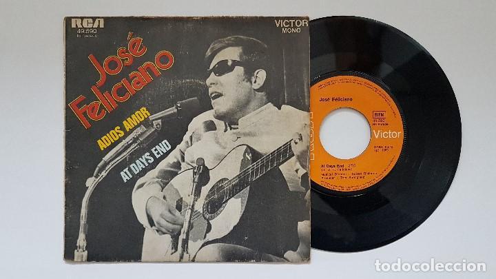 JOSÉ FELICIANO - ADIOS AMOR + AT DAYS END. AÑO. 1.969- EDICIÓN FRANCESA. (Música - Discos - Singles Vinilo - Pop - Rock Extranjero de los 50 y 60)