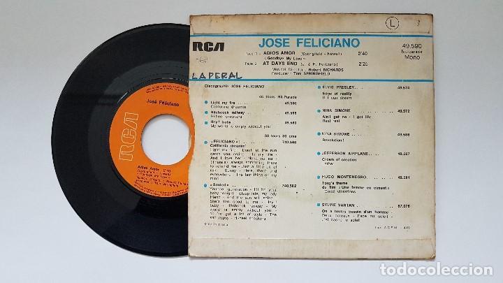 Discos de vinilo: José Feliciano - Adios amor + At days end. año. 1.969- Edición francesa. - Foto 2 - 186247376