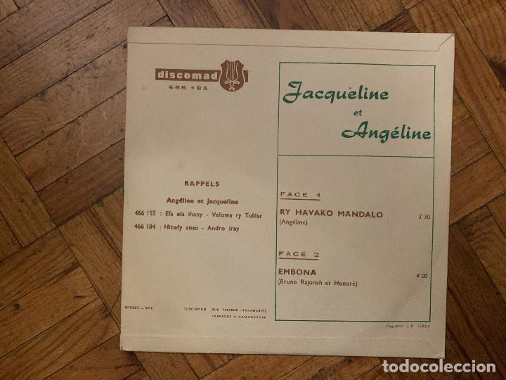 Discos de vinilo: Jacqueline Et Angéline – Ry Havako Mandalo / Embona Sello: Discomad – 466 185 Formato: Vinyl, 7 - Foto 2 - 186253331