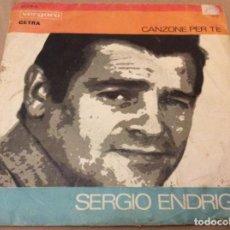 Discos de vinilo: SERGIO ENDRIGO /GIANNI PETTENATI –CANZONE PER TE /LA TRAMONTANA. FESTIVAL SAN REMO 1968.. Lote 186255742