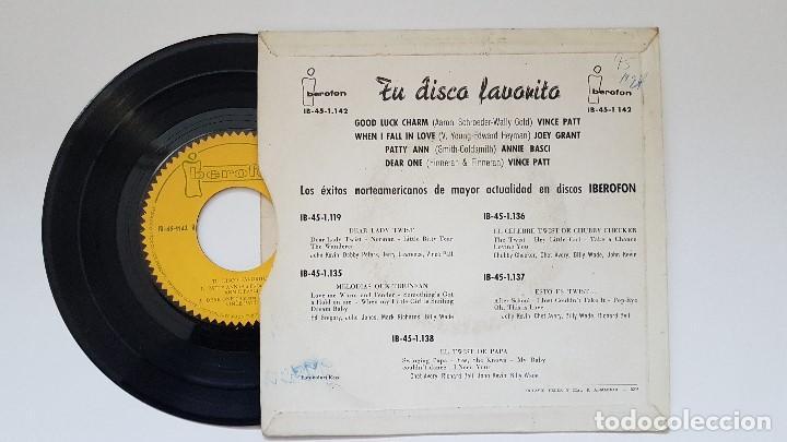 Discos de vinilo: TU DISCO FAVORITO. Ep- Vince Patt,Joey Grant,Annie Basci. año 1.962. Disco Rarísimo. Colección. - Foto 2 - 186255760