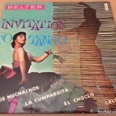 Discos de vinilo: INVITATION TO TANGO - ADIOS MUCHACHOS, LA CUMPARSITA, EL CHOCLO, CELOS. BELTER, 1960.. Lote 186256312