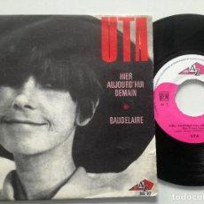 Discos de vinilo: UTA - BAUDELAIRE +1 - SINGLE FRANCIA AZ 1969 // KILLER HEAVY PSYCH FUZZ HAMMOND LOUD DRUMS FREAKBEAT. Lote 186258145