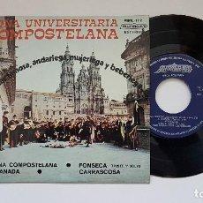Discos de vinilo: TUNA UNIVERSITARIA COMPOSTELANA. EP. TUNA DE COMPOSTELA + 3 CANCIONES.AÑO1.975 - EDITADO POR MIRMAN. Lote 186261752