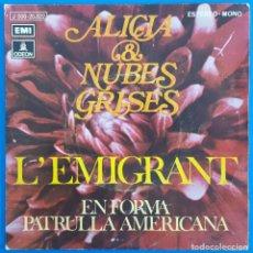 Discos de vinilo: SINGLE / ALICIA & NUBES GRISES / L'EMIGRANT - EN FORMA-PATRULLA AMERICANA / 1972. Lote 186295928