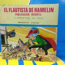 Discos de vinilo: EL FLAUTISTA DE HAMELIN PUBLICACIÓN INFANTIL - 15 DIAPOSITIVAS EN COLOR CON NARRACIÓN SONORA . Lote 186321460