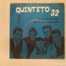 Dischi in vinile: QUINTETO 32 - LA PRIMERA VEZ / EL MEJOR REMEDIO - RARO SINGLE PROMO LABEL BLANCO SELLO ZAFIRO 1965. Lote 186342497