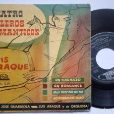 Discos de vinilo: JOSE GUARDIOLA Y LUIS ARAQUE - CUATRO BOLEROS ROMANTICOS - EP 1958 - REGAL. Lote 186342991