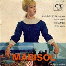 Discos de vinilo: MARISOL - DISCO DE FRANCIA - CARNAVAL EN LA PAMPA - LA PALOMA - LA BAMBA - CIELITO LINDO -. Lote 186344072