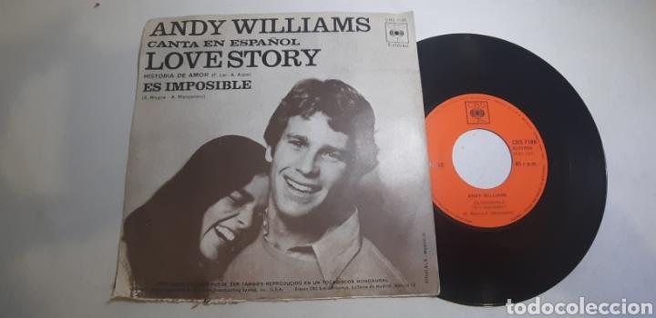 ANDY WILLIAMS. CANTA EN ESPAÑOL. LOVE STORY. ES IMPOSIBLE. VMCBS. 7188. RARO? (Música - Discos - Singles Vinilo - Pop - Rock - Internacional de los 70)