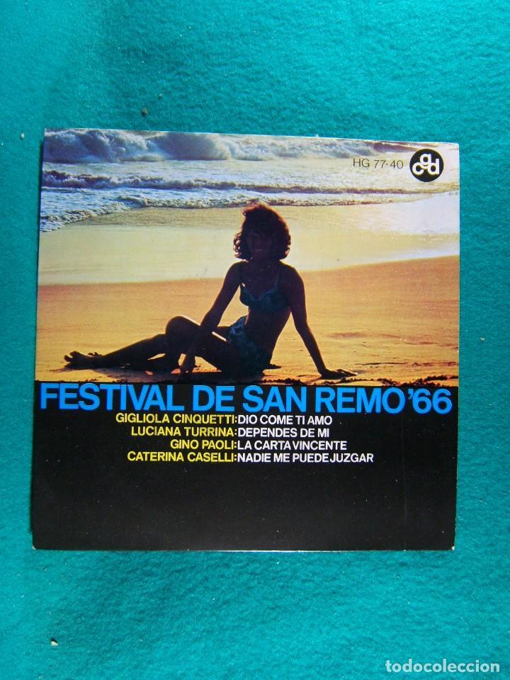 FESTIVAL DE SAN REMO 66-GIGLIOLA CINQUETTI-GINO PAOLI-LUCIANA TURRINA Y OTROS...-SINGLE-MADRID-1966. (Música - Discos - Singles Vinilo - Otros Festivales de la Canción)