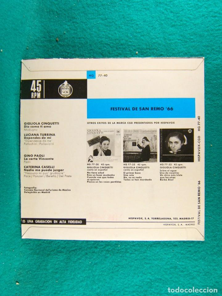 Discos de vinilo: FESTIVAL DE SAN REMO 66-GIGLIOLA CINQUETTI-GINO PAOLI-LUCIANA TURRINA Y OTROS...-SINGLE-MADRID-1966. - Foto 2 - 186375236