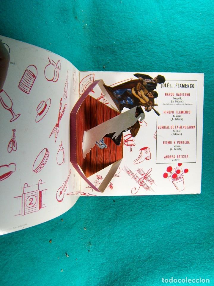 Discos de vinilo: ¡ OLE !...FLAMENCO-BULERIAS-TANGUITO-VERDIAL-FARRUCA-INTERIOR CON BONITO DESPLEGABLE-SINGLE-1965. - Foto 2 - 186378210